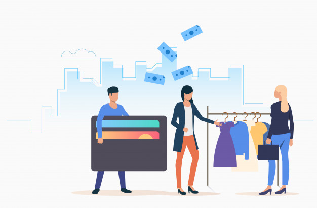 People buying clothes Free Vector